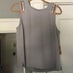 Rachel Roy tank top grey with shoulder details
